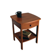 Curved Night Stand Table in Antique Walnut Finish 18''W x 18''D x 22''H