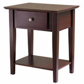 Shaker Night Stand with Drawer, Antique Walnut Finish