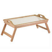 Breakfast Bed Tray with Handle, Foldable Legs, Natural Frame with White Melamine Top, 24-3/8''W x 14''D x 10-5/16''H