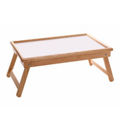 Breakfast Bed Tray, Flip Top, Foldable Legs, Natural Frame with White Melamine Top, 24-11/16''W x 14''D x 9-1/4''H