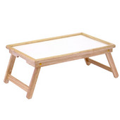Breakfast Bed Tray, with Notched Handle, Natural Frame with White Melamine Top, 24-1/2''W x 14''D x 9''H