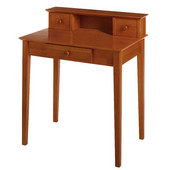 Studio Shaker-Style Writing Desk with Shelf in Honey Pine Finish 30'' W x 20'' D x 34'' H