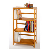 4-Tier Bookshelf with Honey Pine Finish 26'' x 12'' x 42''