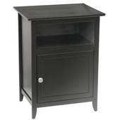 Night Stand with Storage Cabinet and Upper Shelf in Black Finish