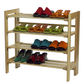 Four Tier Shoe Rack in Natural Finish