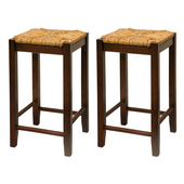 24'' Bar Stool with Woven Rush Seat  and Walnut Finish