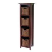 Winsome - Milan 5Pc Storage Shelf, 6.4'' W x 13'' D x 56'' H, Antique Walnut finish