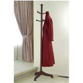 Coat Tree with 6 Pegs 19'' W x 21'' D x 71'' H, Antique Walnut Finish