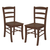 Ladder Back Chair, Set of 2, Antique Walnut