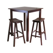Parkland 3-Pc. Square High/Pub Table Set with 2 Saddle Seat Stools, Antique Walnut