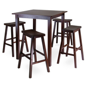 Parkland 5-Pc. Square High/Pub Table Set with 4 Saddle Seat Stools, Antique Walnut