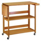 Foldable Kitchen Cart w/ Knife Block, Light Oak Finish, 37-4/5'' W x 17-1/5'' D x 35-1/10'' H