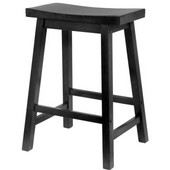 Winsome - 24'' Saddle Seat Bar Stool, Black