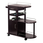 Wine Cart with Glass Holder, 6 Bottle Capacity, Espresso finish, 35-2/5''w x 14-3/5'' D x 35-9/10'' H