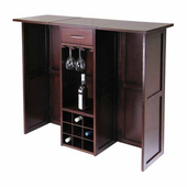 Winsome - Newport Wine Bar with Expandable Counter, Antique Walnut