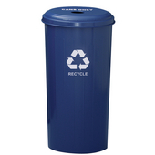 Geo Cube Recycling Receptacle, 4'' Round Opening, 20 gallon, 16'' W x 16'' D x 30'' H, Recycle Blue