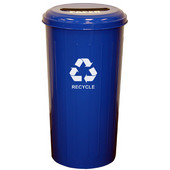 Geo Cube Recycling Receptacle, 8'' Slot Opening, 20 gallon, 16'' W x 16'' D x 30'' H, Recycle Blue