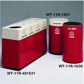 #WT-11R-481631-PD20, Fiberglass Combinations Recycling Container,48Inwx 16Indx 31Inh, Made To Order, Candy Apple