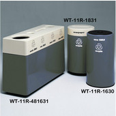 #WT-11R-481631-PD19, Fiberglass Combinations Recycling Container,48Inwx 16Indx 31Inh, Made To Order, Charcoal