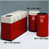 #WT-11R-481631-PD13, Fiberglass Combinations Recycling Container,48Inwx 16Indx 31Inh, Made To Order, Earth Red