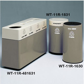 #WT-11R-481631-PD2, Fiberglass Combinations Recycling Container,48Inwx 16Indx 31Inh, Made To Order, Gray