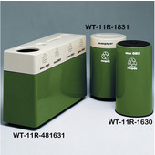 #WT-11R-481631-PD28, Fiberglass Combinations Recycling Container,48Inwx 16Indx 31Inh, Made To Order, Hunter Green