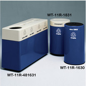 #WT-11R-481631-PD10, Fiberglass Combinations Recycling Container,48Inwx 16Indx 31Inh, Made To Order, Navy Blue