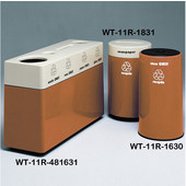 #WT-11R-481631-PD17, Fiberglass Combinations Recycling Container,48Inwx 16Indx 31Inh, Made To Order, Paprika