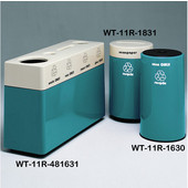 #WT-11R-481631-PD36, Fiberglass Combinations Recycling Container,48Inwx 16Indx 31Inh, Made To Order, Teal