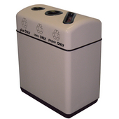 Fiberglass 3-Opening Recycling Container, with Plastic Liners, 33 Gallons, 36''W x 16''D x 31''H, Alabaster, Available in Multiple Finishes
