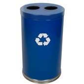 Recycling Unit, 2 Openings, 2 Liners, Blue, 31.5 Gallons, 18''Dia. X 33''H