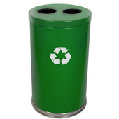 Recycling Unit, 2 Openings, 2 Liners, Green, 31.5 Gallons, 18''Dia. X 33''H