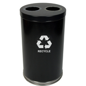 Recycling Unit, 2 Openings, 2 Liners, Black, 31.5 Gallons, 18''Dia. X 33''H