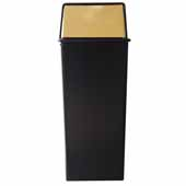 21 Gallon Monarch Series Indoor Pushtop Hamper And Top, Waste Watcher Receptacle In Black Brass, 15''W x 15''D x 37''H
