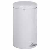 Step-On Trash Can, White, 7 Gallon