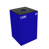 24 Gallon Geocube Indoor Recycling Container, Round Opening with Cans & Bottles Decals, 15''W x 15''D x 24''H, Blue