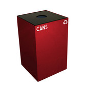 24 Gallon Geocube Indoor Recycling Container, Round Opening with Cans & Bottles Decals, 15''W x 15''D x 24''H, Scarlet