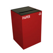 24 Gallon Geocube Indoor Recycling Container, Slot Opening with Paper & Recycle Decals, 15''W x 15''D x 24''H, Scarlet
