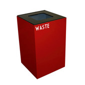 24 Gallon Geocube Indoor Recycling Container, Square Opening with Waste & Recycle Decals, 15''W x 15''D x 24''H, Scarlet