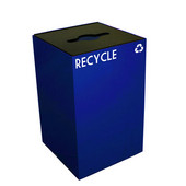 24 Gallon Geocube Indoor Recycling Container, Combo Round & Slot Opening with 2 Recycle Decals, 15''W x 15''D x 24''H, Blue