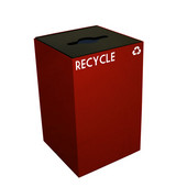 24 Gallon Geocube Indoor Recycling Container, Combo Round & Slot Opening with 2 Recycle Decals, 15''W x 15''D x 24''H, Scarlet