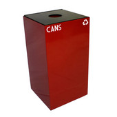 28 Gallon Geocube Indoor Recycling Container, Round Opening with Cans & Bottles Decals, 15''W x 15''D x 28''H, Scarlet