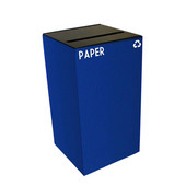 28 Gallon Geocube Indoor Recycling Container, Slot Opening with Paper & Recycle Decals, 15''W x 15''D x 28''H, Blue