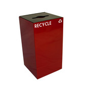 28 Gallon Geocube Indoor Recycling Container, Combo Round & Slot Opening with 2 Recycle Decals, 15''W x 15''D x 28''H, Scarlet
