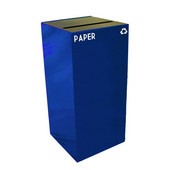 32 Gallon Geocube Indoor Recycling Container, Slot Opening with Paper & Recycle Decals, 15''W x 15''D x 32''H, Blue