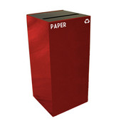 32 Gallon Geocube Indoor Recycling Container, Slot Opening with Paper & Recycle Decals, 15''W x 15''D x 32''H, Scarlet