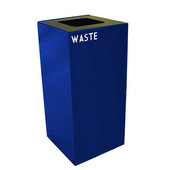32 Gallon Geocube Indoor Recycling Container, Square Opening with Waste & Recycle Decals, 15''W x 15''D x 32''H, Blue