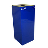 36 Gallon Geocube Indoor Recycling Container, Round Opening with Cans & Bottles Decals, 15''W x 15''D x 36''H, Blue