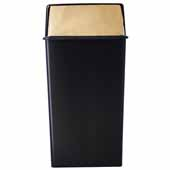 36 Gallon Monarch Series Indoor Pushtop, Waste Watcher Receptacle In Black Brass, 19''W x 19''D x 37''H