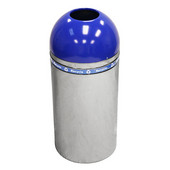 Indoor Decorative Dometop Recycling Containers, Chrome with Blue Accents Finish